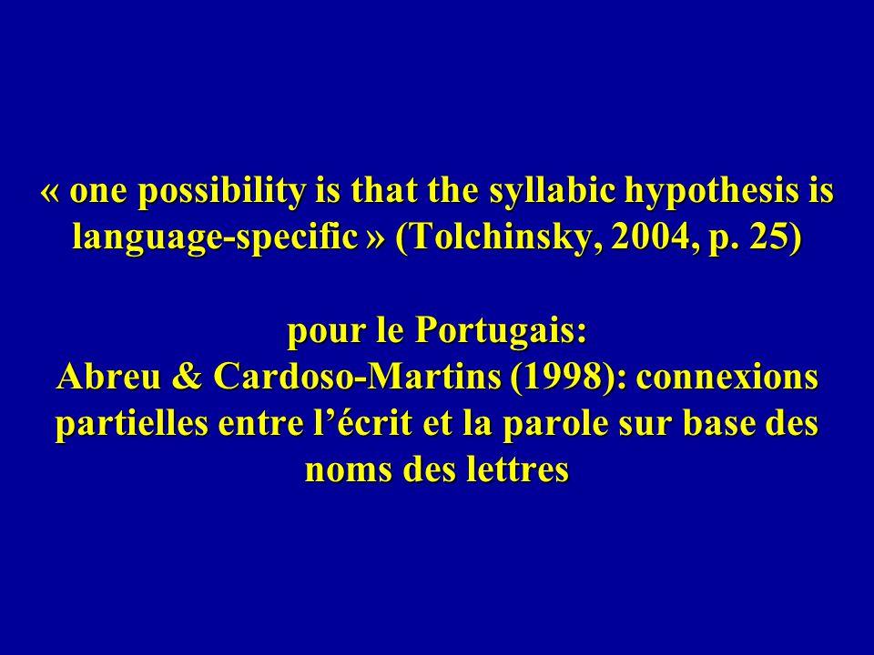 « one possibility is that the syllabic hypothesis is language-specific » (Tolchinsky, 2004, p. 25) pour le Portugais: Abreu & Cardoso-Martins (1998):