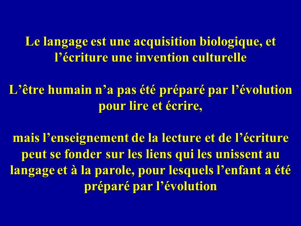 Le langage est une acquisition biologique, et lécriture une invention culturelle Lêtre humain na pas été préparé par lévolution pour lire et écrire, m