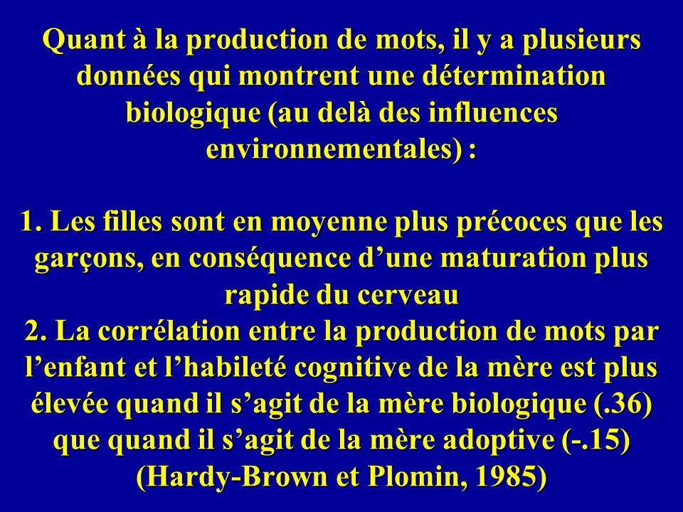 Quant à la production de mots, il y a plusieurs données qui montrent une détermination biologique (au delà des influences environnementales) : 1. Les
