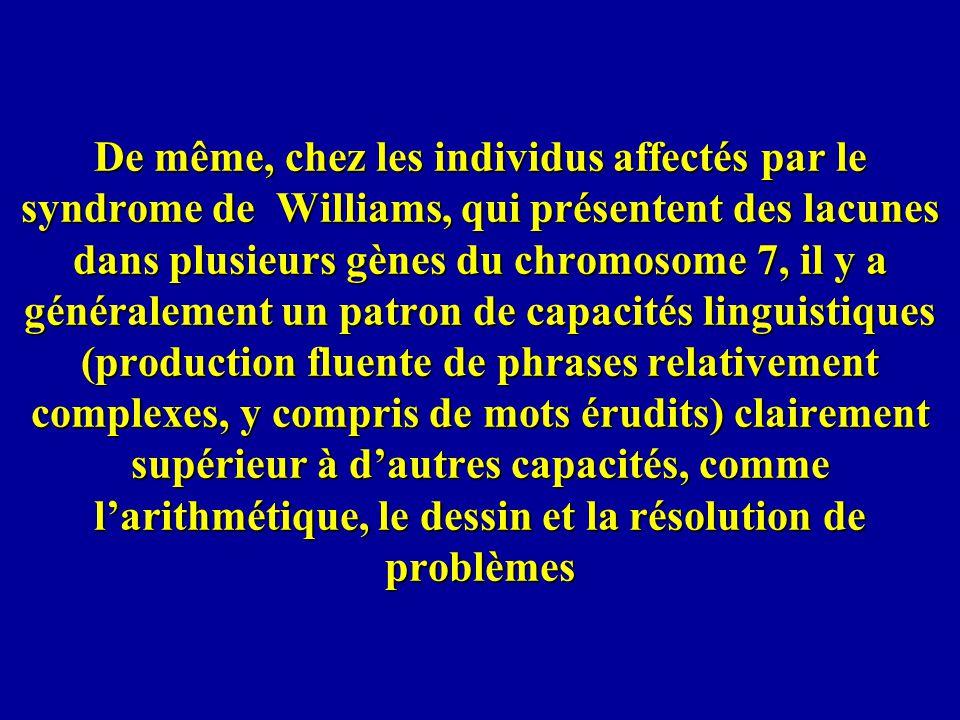 De même, chez les individus affectés par le syndrome de Williams, qui présentent des lacunes dans plusieurs gènes du chromosome 7, il y a généralement