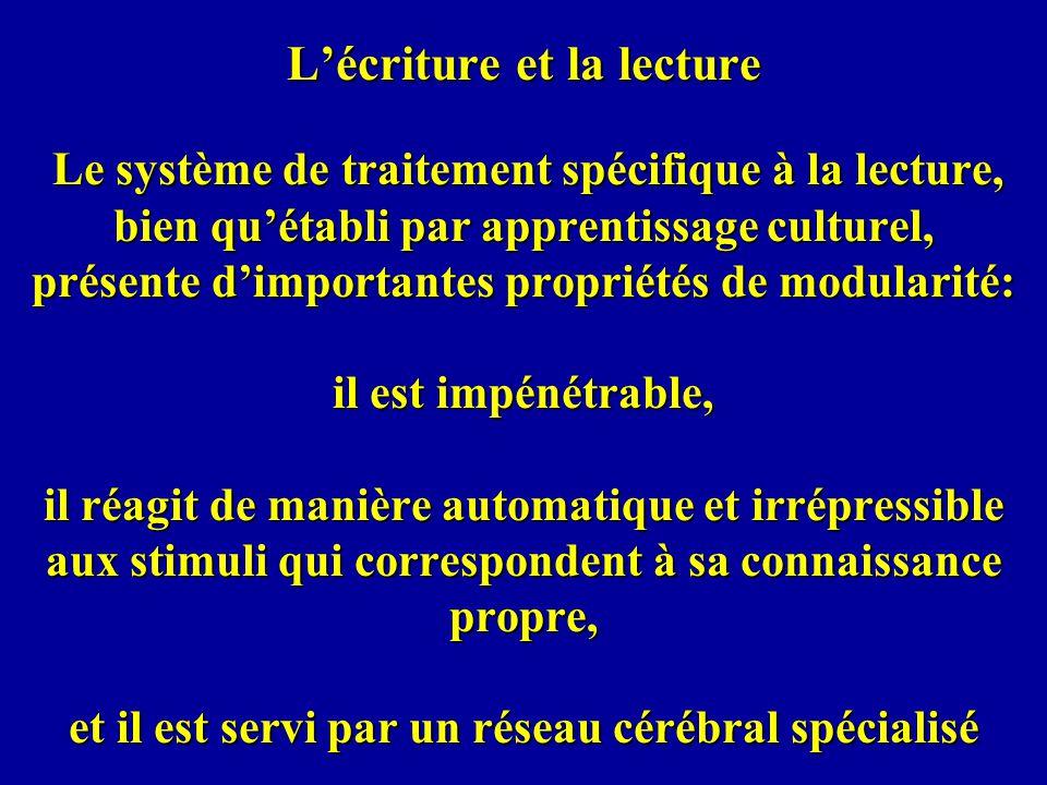 Lécriture et la lecture Le système de traitement spécifique à la lecture, bien quétabli par apprentissage culturel, présente dimportantes propriétés d