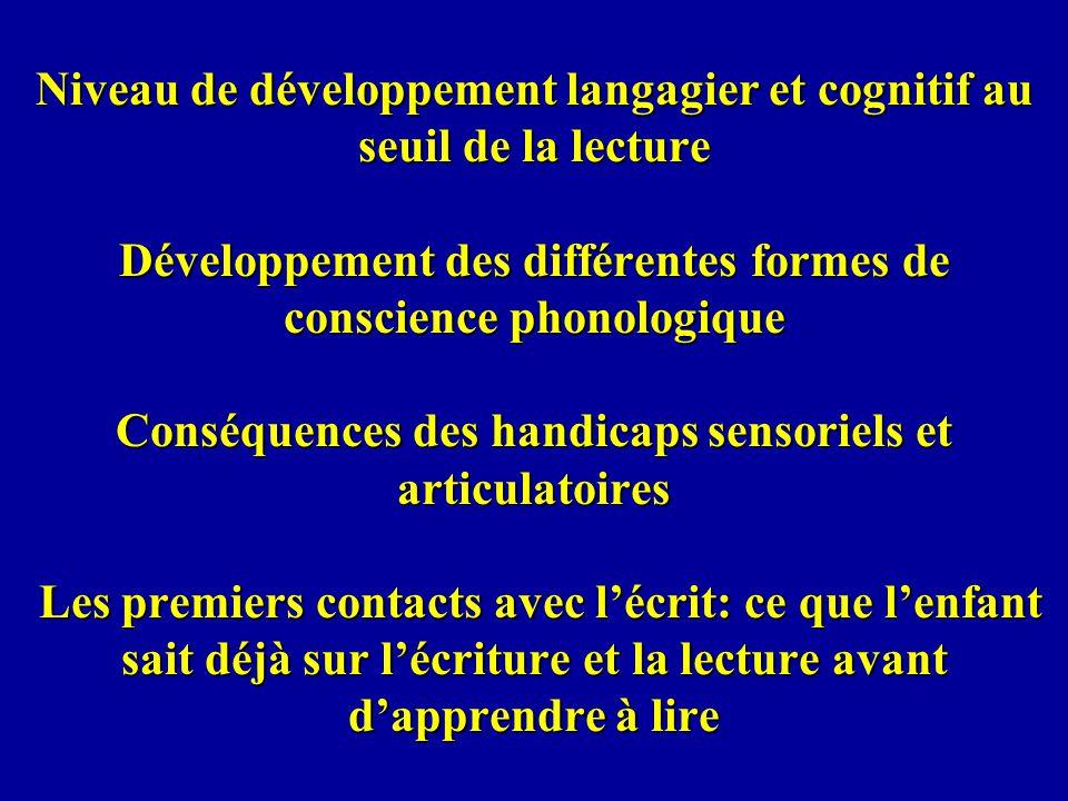 Phoneme awareness does not emerge from lexical restructuring (gating) Ventura, Kolinsky, Querido & Morais Lettrés Densité voisins + - Fréquence H 0.60 0.49 B 0.49 0.57 (pour les mots fréquents la densité pénalise, pour les rares elle aide) Illettrés 0.74 0.59 0.58 0.65