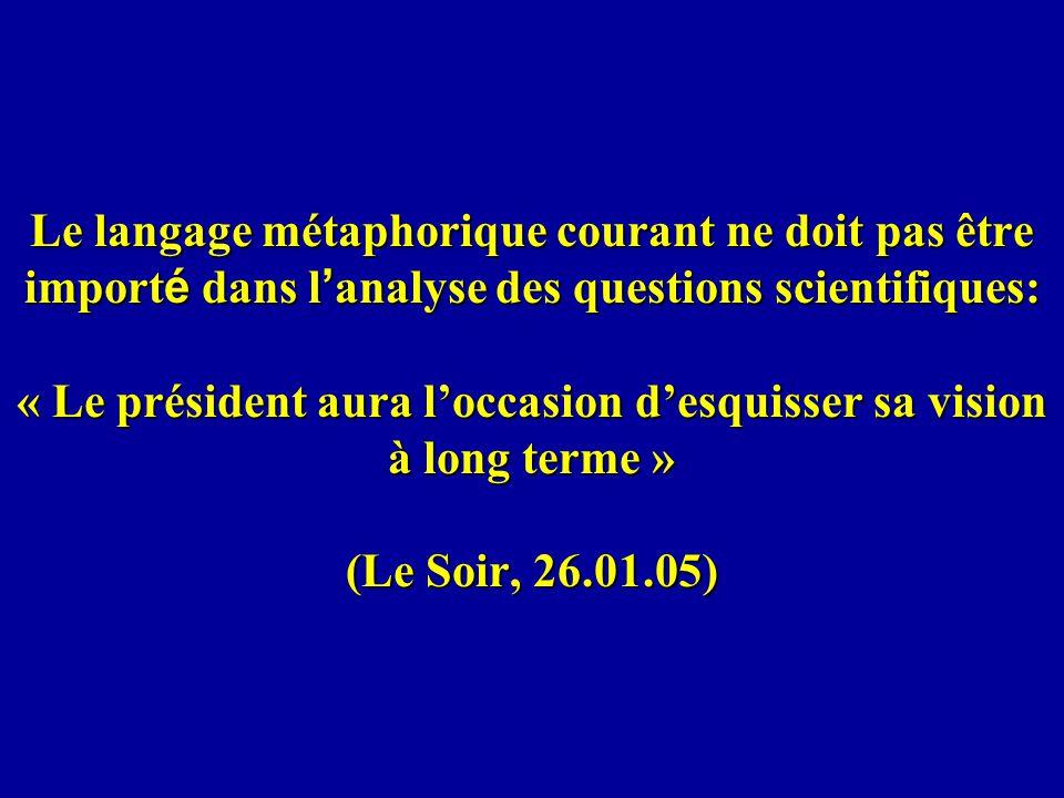 Le langage métaphorique courant ne doit pas être import é dans l analyse des questions scientifiques: « Le président aura loccasion desquisser sa visi