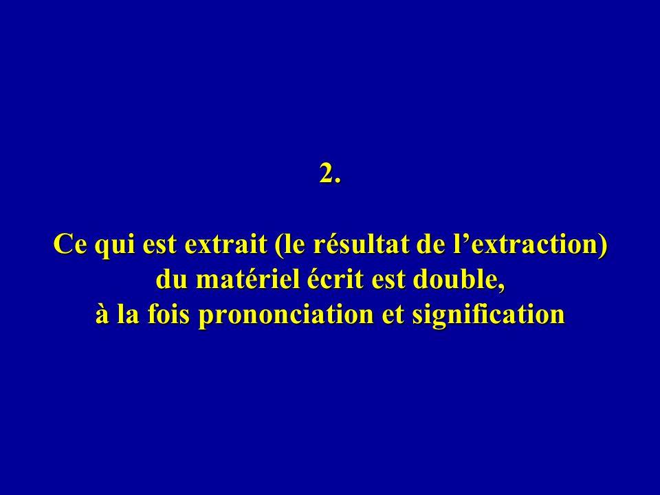 2. Ce qui est extrait (le résultat de lextraction) du matériel écrit est double, à la fois prononciation et signification