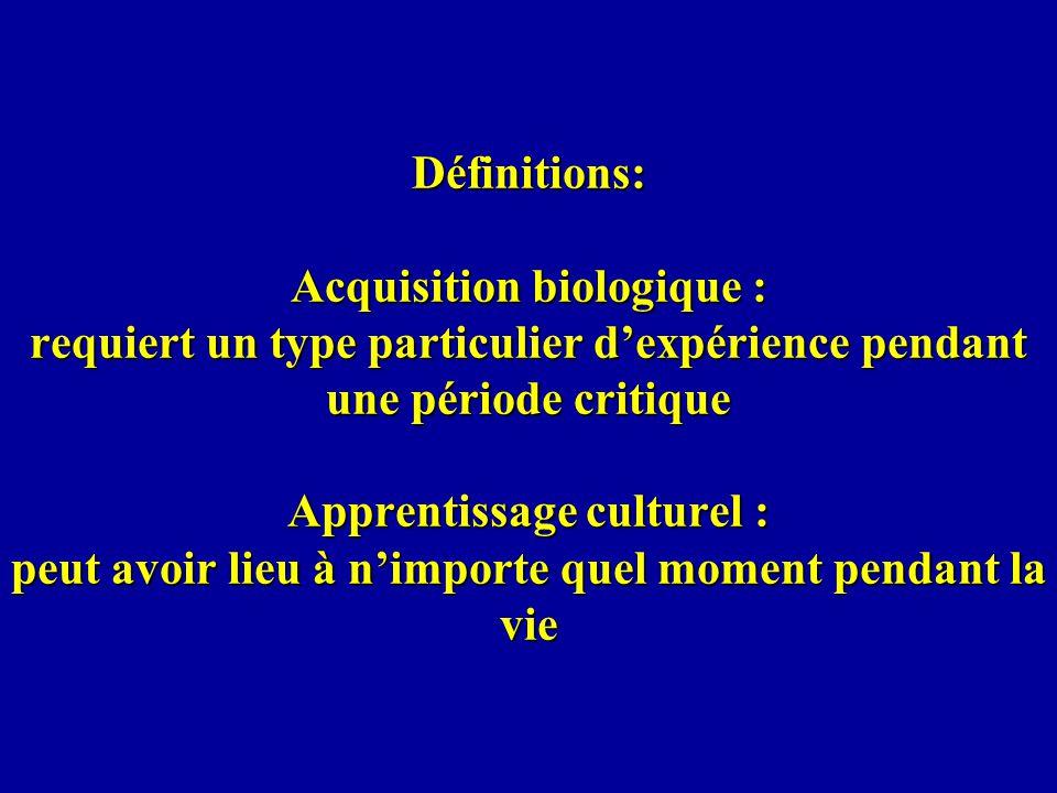 Définitions: Acquisition biologique : requiert un type particulier dexpérience pendant une période critique Apprentissage culturel : peut avoir lieu à