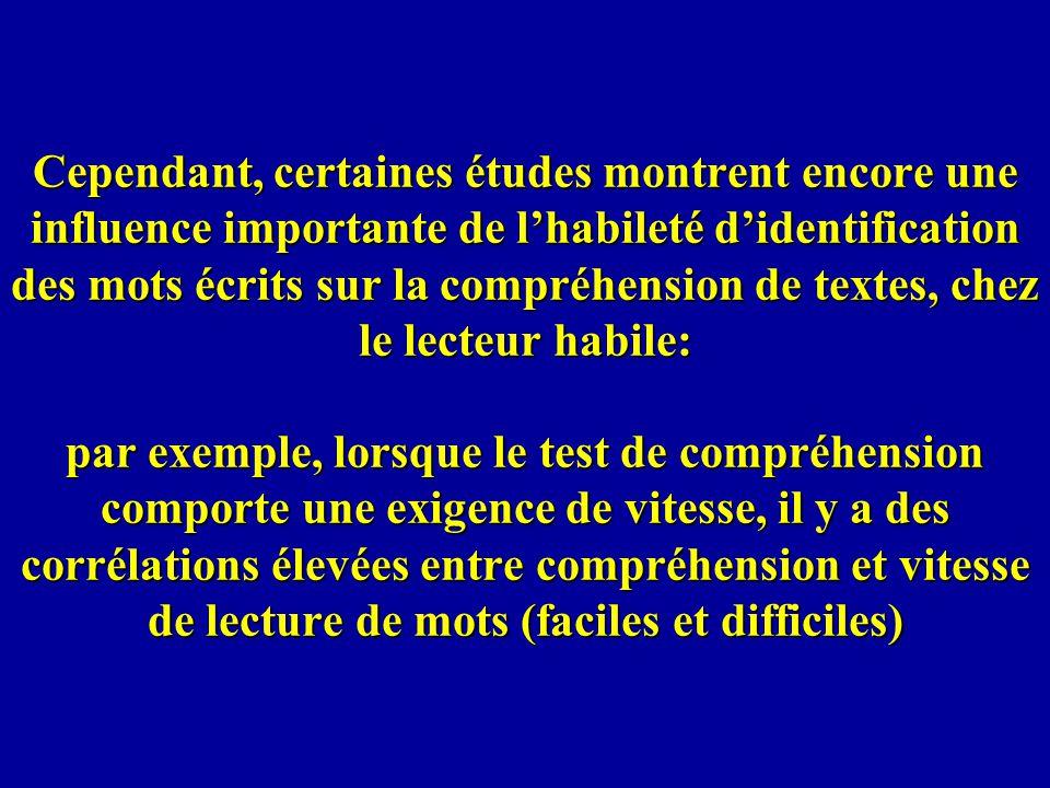 Cependant, certaines études montrent encore une influence importante de lhabileté didentification des mots écrits sur la compréhension de textes, chez