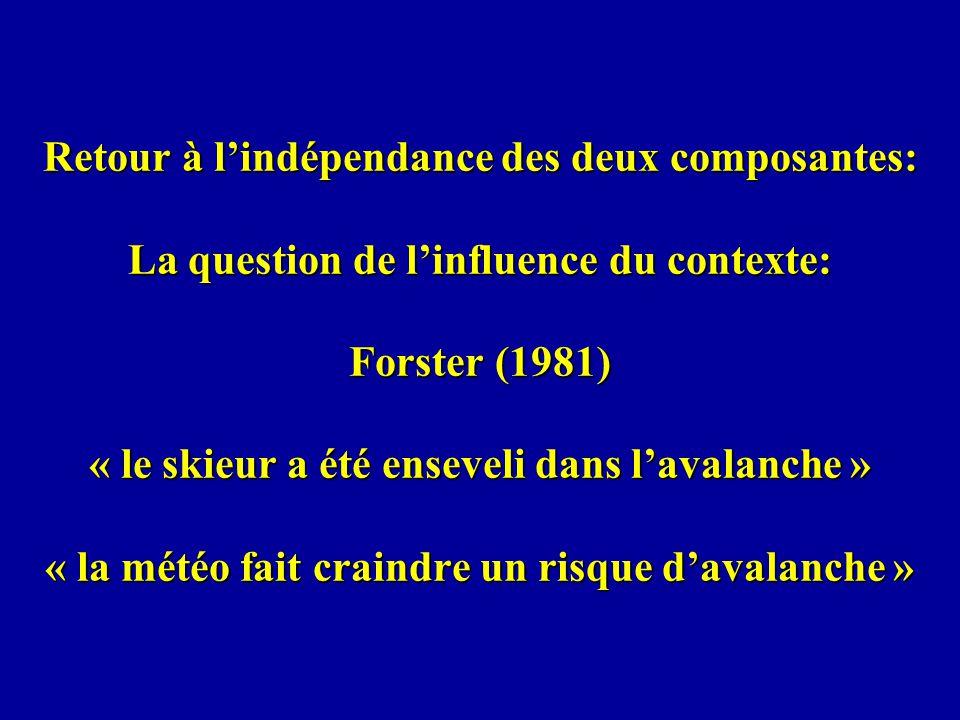 Retour à lindépendance des deux composantes: La question de linfluence du contexte: Forster (1981) « le skieur a été enseveli dans lavalanche » « la m