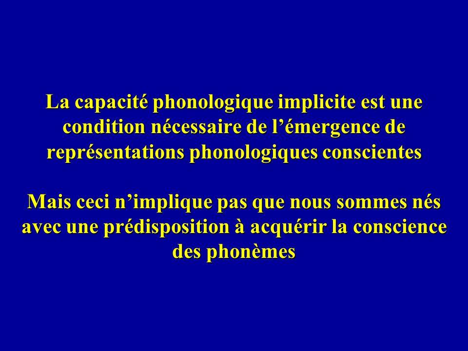 La capacité phonologique implicite est une condition nécessaire de lémergence de représentations phonologiques conscientes Mais ceci nimplique pas que