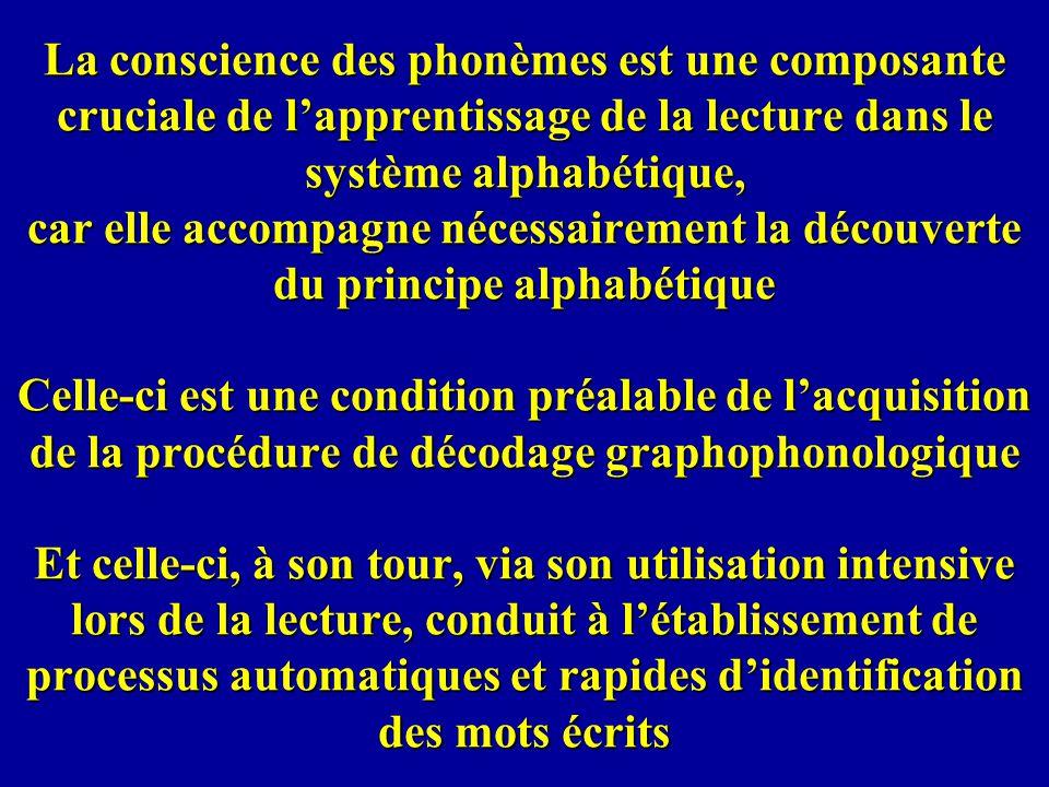 La conscience des phonèmes est une composante cruciale de lapprentissage de la lecture dans le système alphabétique, car elle accompagne nécessairemen