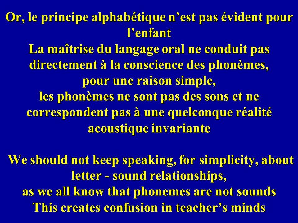 Or, le principe alphabétique nest pas évident pour lenfant La maîtrise du langage oral ne conduit pas directement à la conscience des phonèmes, pour u