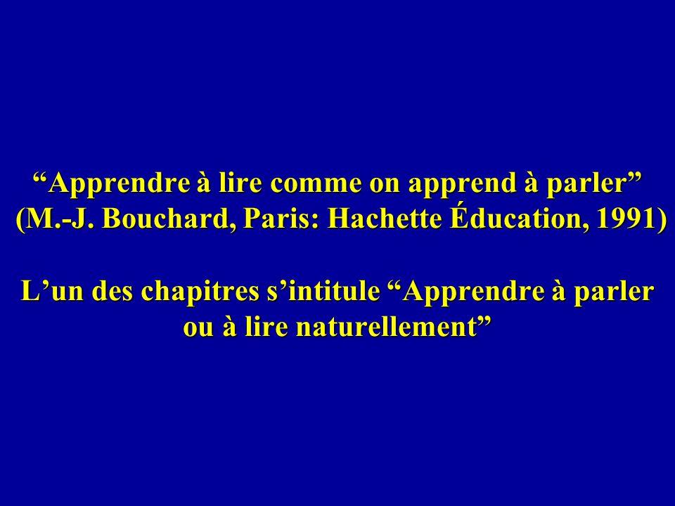 Apprendre à lire comme on apprend à parler (M.-J. Bouchard, Paris: Hachette Éducation, 1991) Lun des chapitres sintitule Apprendre à parler ou à lire