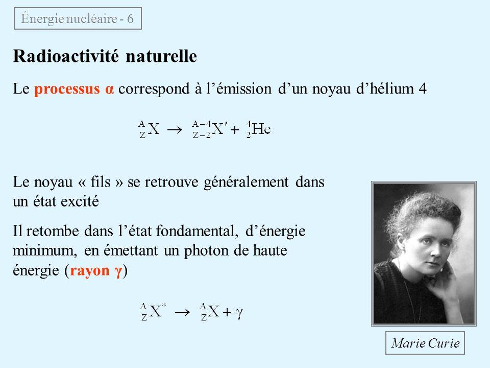 Radioactivité naturelle Le processus α correspond à lémission dun noyau dhélium 4 Énergie nucléaire - 6 Le noyau « fils » se retrouve généralement dan