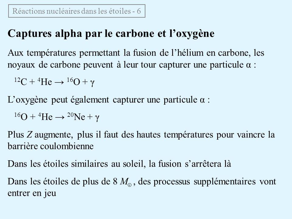 Captures alpha par le carbone et loxygène Aux températures permettant la fusion de lhélium en carbone, les noyaux de carbone peuvent à leur tour captu