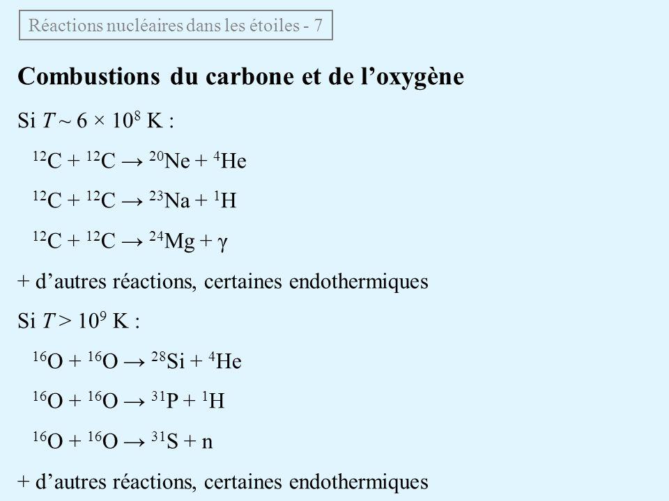 Combustions du carbone et de loxygène Si T ~ 6 × 10 8 K : 12 C + 12 C 20 Ne + 4 He 12 C + 12 C 23 Na + 1 H 12 C + 12 C 24 Mg + γ + dautres réactions,