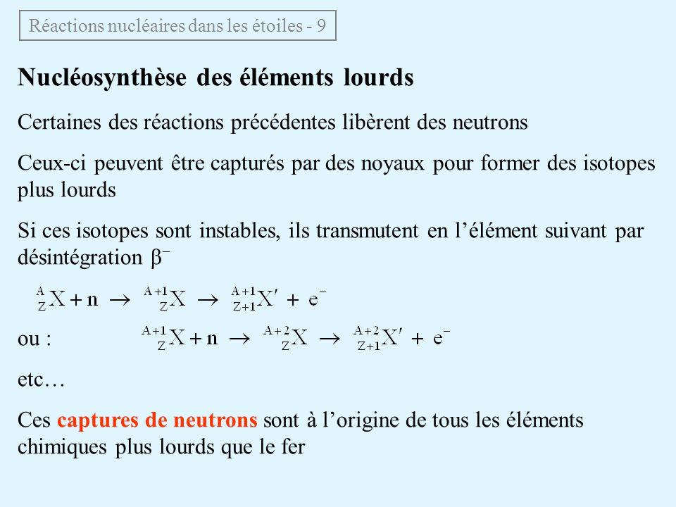 Nucléosynthèse des éléments lourds Certaines des réactions précédentes libèrent des neutrons Ceux-ci peuvent être capturés par des noyaux pour former
