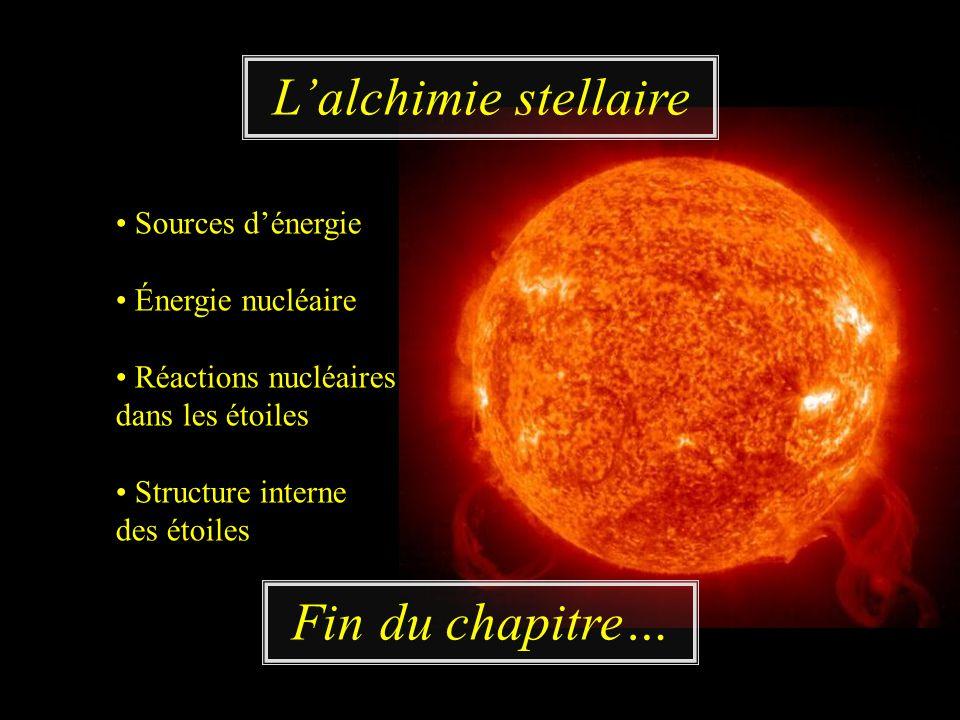 Lalchimie stellaire Fin du chapitre… Sources dénergie Énergie nucléaire Réactions nucléaires dans les étoiles Structure interne des étoiles
