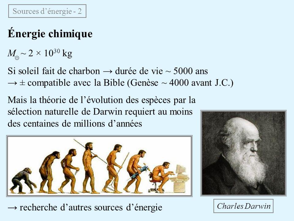 Énergie chimique M ~ 2 × 10 30 kg Si soleil fait de charbon durée de vie ~ 5000 ans ± compatible avec la Bible (Genèse ~ 4000 avant J.C.) Sources déne