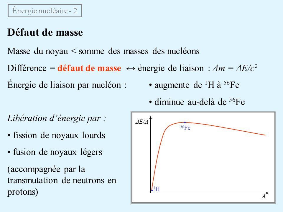 Durée de vie du soleil M 2 × 10 30 kg Composé essentiellement dhydrogène 1 H (~90% en nombre datomes) Fusion nucléaire : 4 1 H 4 He + énergie M He = 3.9726 M H ΔM = 0.0274 / 4 par noyau de 1 H ΔE 6 × 10 14 J/kg Le soleil est capable de convertir ~10% de son hydrogène en hélium : ΔE 0.1 × 6 × 10 14 × 2 × 10 30 10 44 J Δt ΔE / L 10 44 / 3 × 10 26 3 × 10 17 s 10 milliards dannées Énergie nucléaire - 3