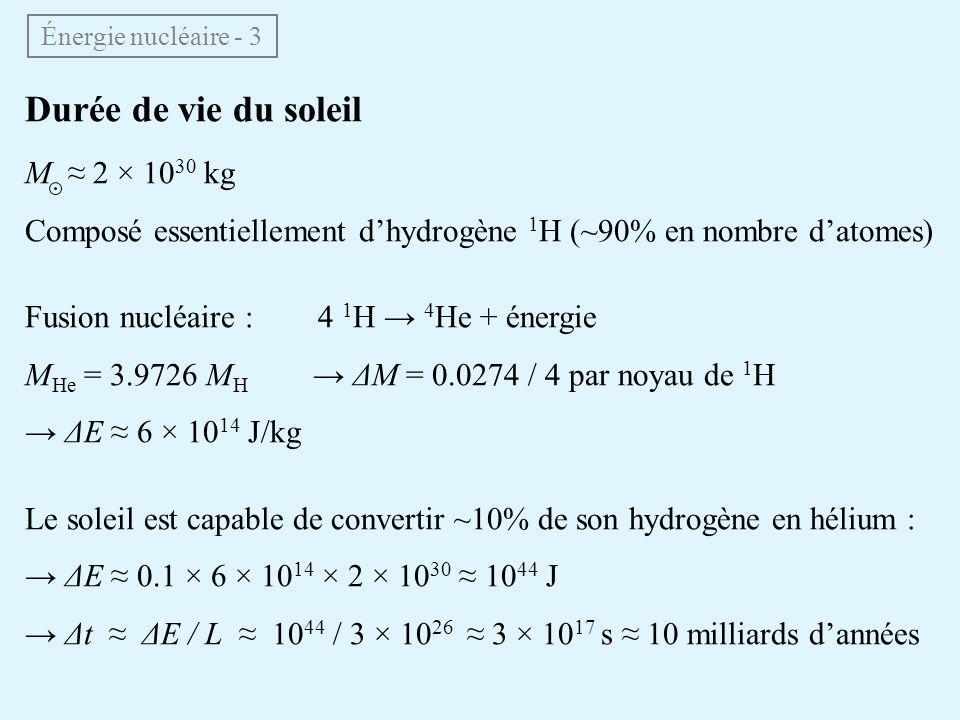 Durée de vie du soleil M 2 × 10 30 kg Composé essentiellement dhydrogène 1 H (~90% en nombre datomes) Fusion nucléaire : 4 1 H 4 He + énergie M He = 3