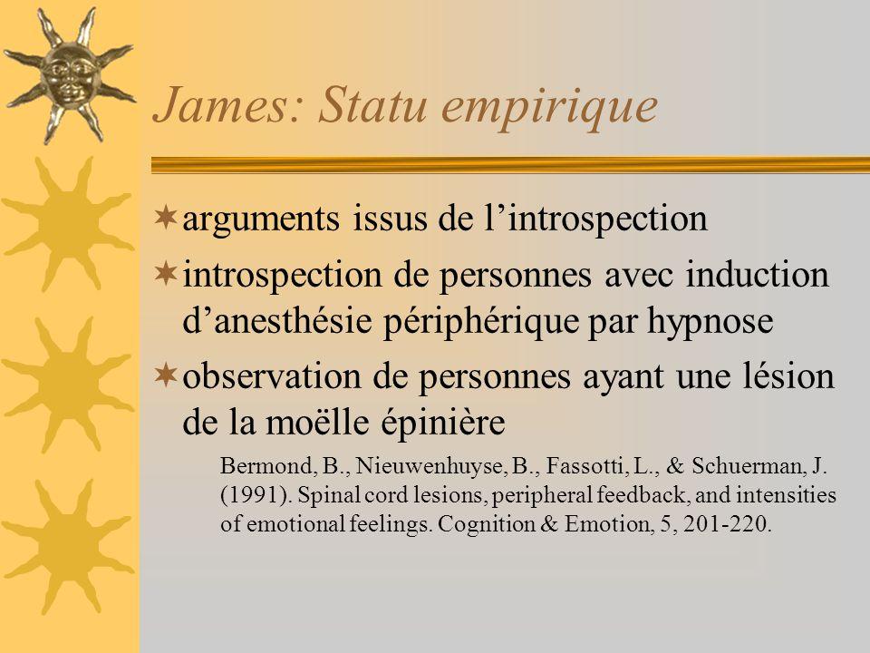 James: Statu empirique arguments issus de lintrospection introspection de personnes avec induction danesthésie périphérique par hypnose observation de