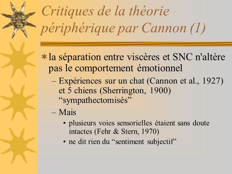 Critiques de la théorie périphérique par Cannon (1) la séparation entre viscères et SNC n'altère pas le comportement émotionnel –Expériences sur un ch