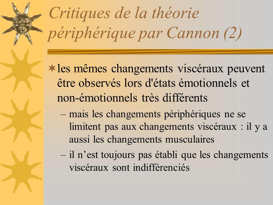 Critiques de la théorie périphérique par Cannon (2) les mêmes changements viscéraux peuvent être observés lors d'états émotionnels et non-émotionnels