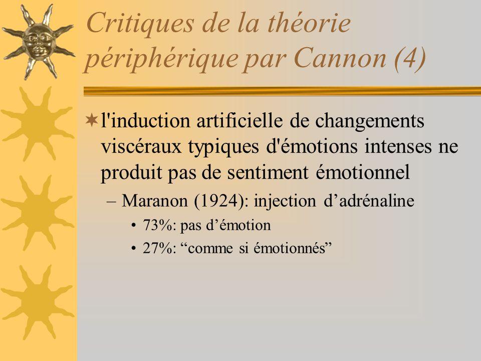 Critiques de la théorie périphérique par Cannon (4) l'induction artificielle de changements viscéraux typiques d'émotions intenses ne produit pas de s