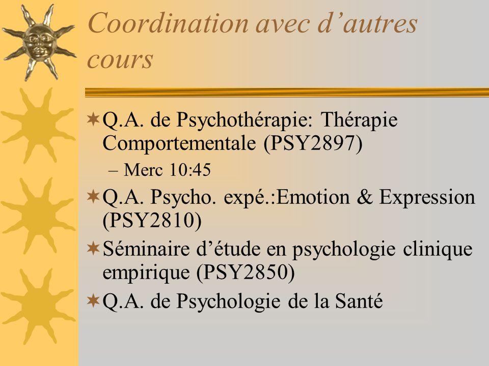 Coordination avec dautres cours Q.A. de Psychothérapie: Thérapie Comportementale (PSY2897) –Merc 10:45 Q.A. Psycho. expé.:Emotion & Expression (PSY281