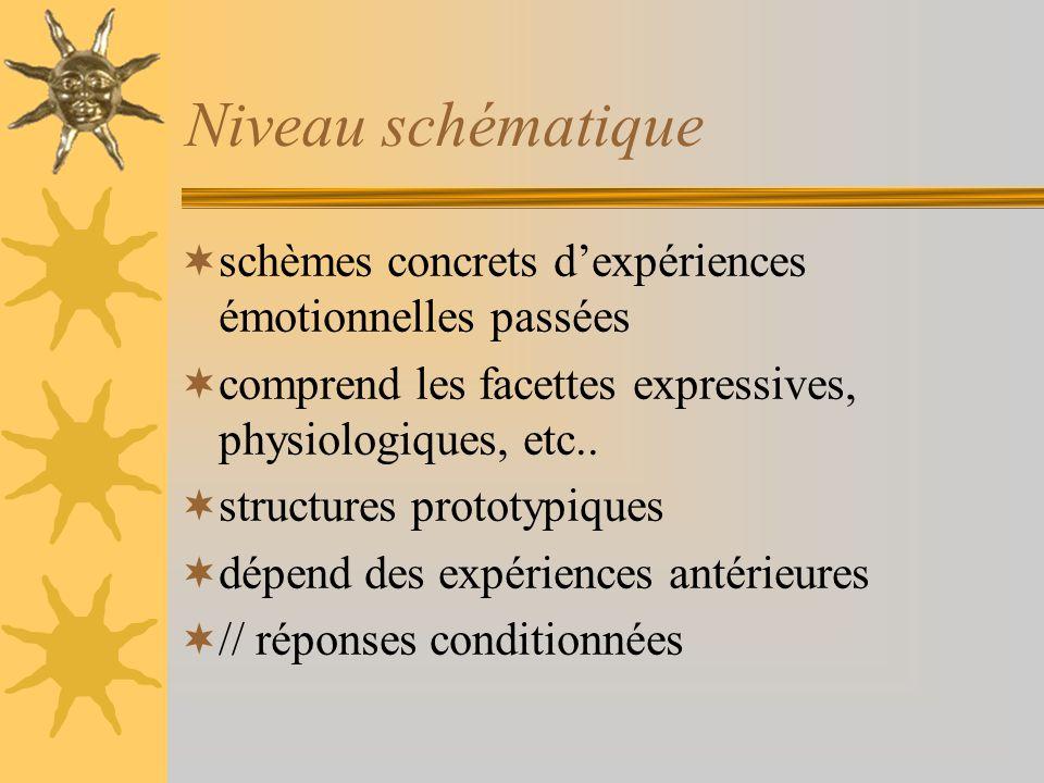 Niveau schématique schèmes concrets dexpériences émotionnelles passées comprend les facettes expressives, physiologiques, etc.. structures prototypiqu