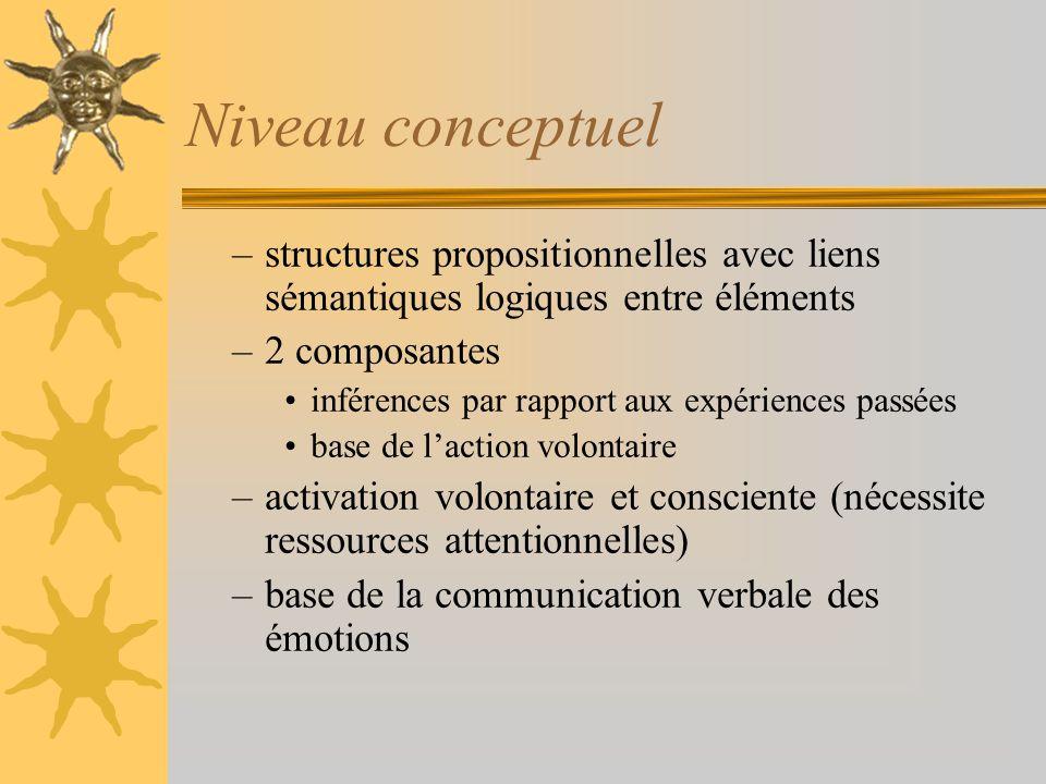 Niveau conceptuel –structures propositionnelles avec liens sémantiques logiques entre éléments –2 composantes inférences par rapport aux expériences p