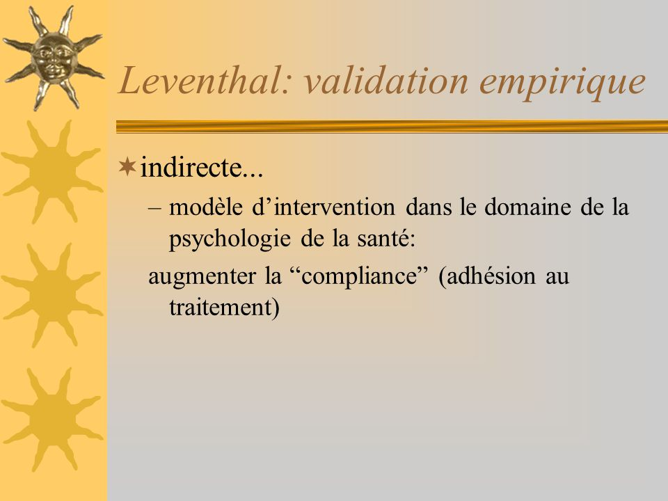 Leventhal: validation empirique indirecte...