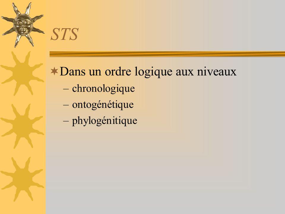 STS Dans un ordre logique aux niveaux –chronologique –ontogénétique –phylogénitique