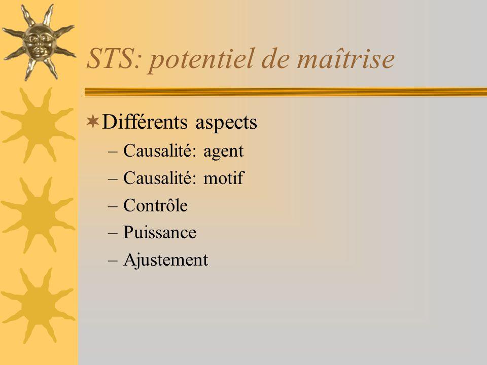 STS: potentiel de maîtrise Différents aspects –Causalité: agent –Causalité: motif –Contrôle –Puissance –Ajustement