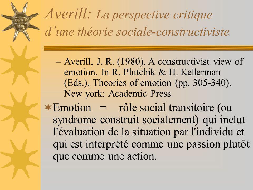 Averill: La perspective critique d une théorie sociale-constructiviste –Averill, J. R. (1980). A constructivist view of emotion. In R. Plutchik & H. K