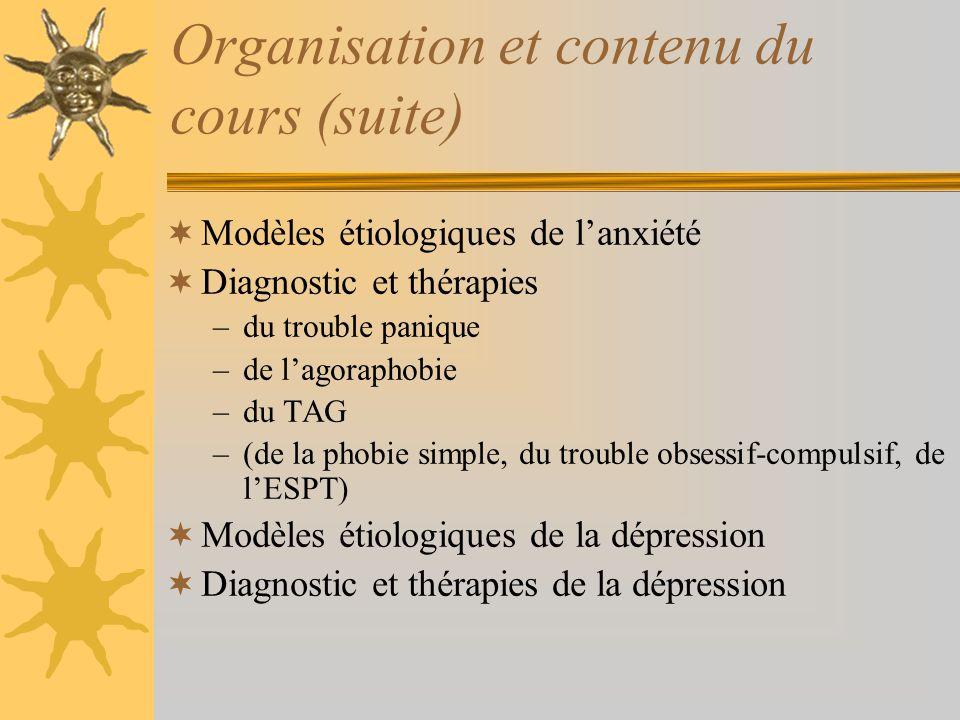 Organisation et contenu du cours (suite) Modèles étiologiques de lanxiété Diagnostic et thérapies –du trouble panique –de lagoraphobie –du TAG –(de la