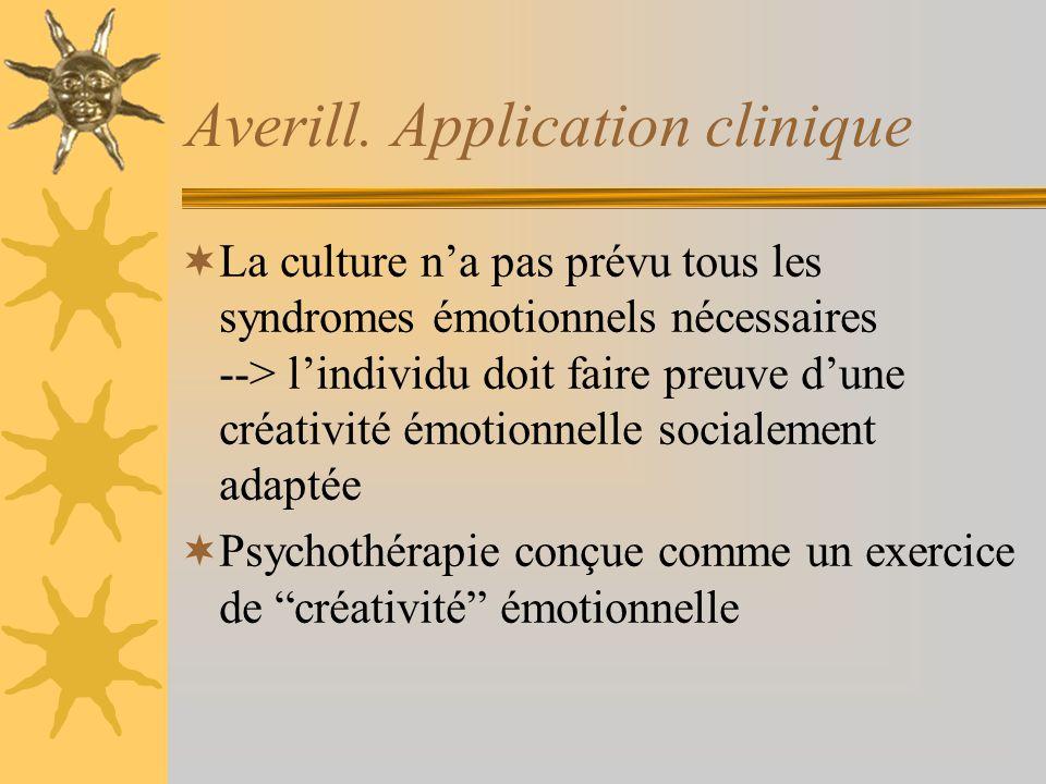 Averill. Application clinique La culture na pas prévu tous les syndromes émotionnels nécessaires --> lindividu doit faire preuve dune créativité émoti
