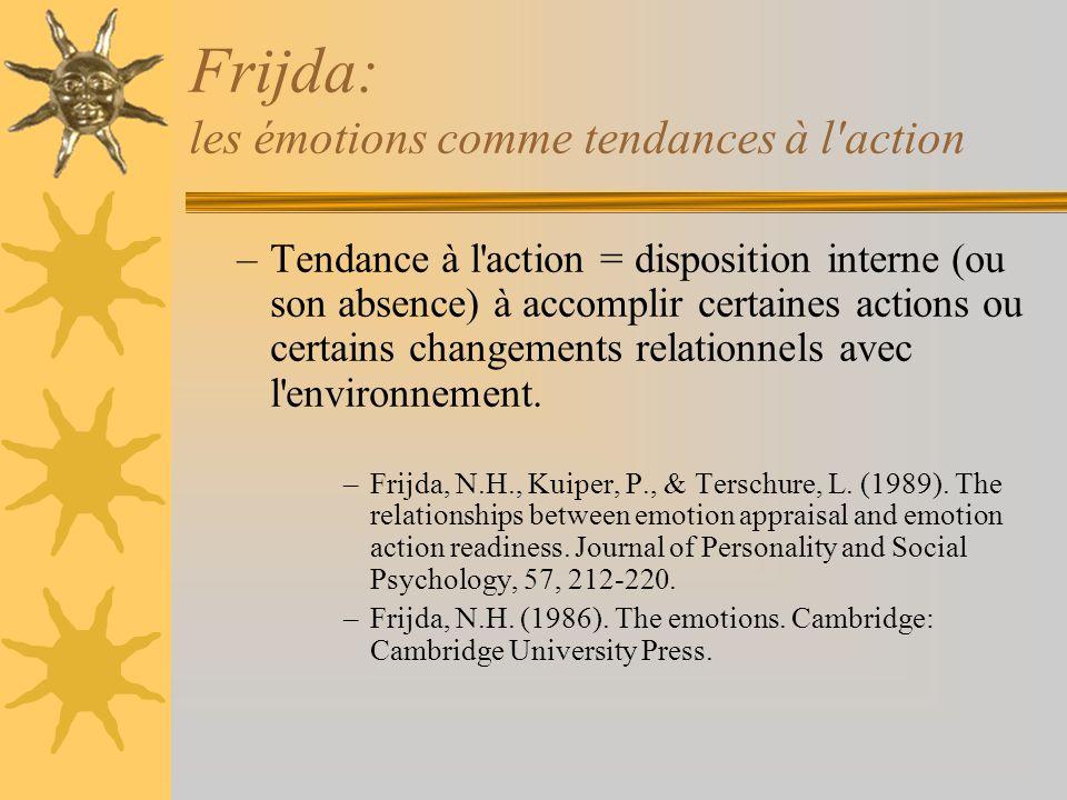 Frijda: les émotions comme tendances à l'action –Tendance à l'action = disposition interne (ou son absence) à accomplir certaines actions ou certains
