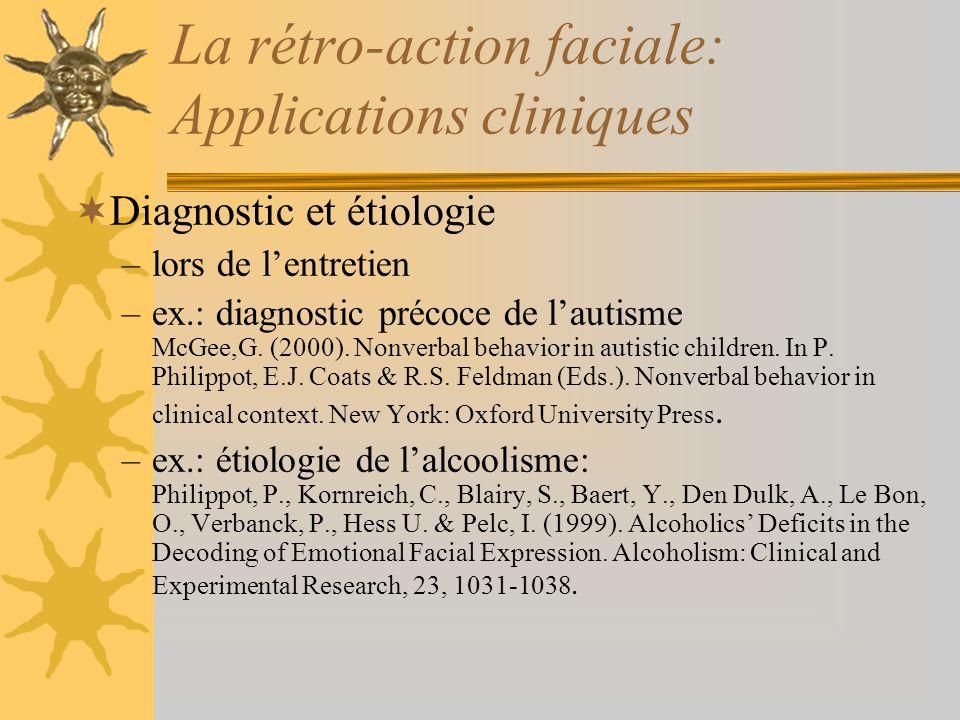 La rétro-action faciale: Applications cliniques Diagnostic et étiologie –lors de lentretien –ex.: diagnostic précoce de lautisme McGee,G. (2000). Nonv