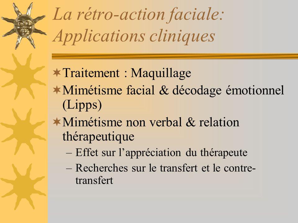 La rétro-action faciale: Applications cliniques Traitement : Maquillage Mimétisme facial & décodage émotionnel (Lipps) Mimétisme non verbal & relation
