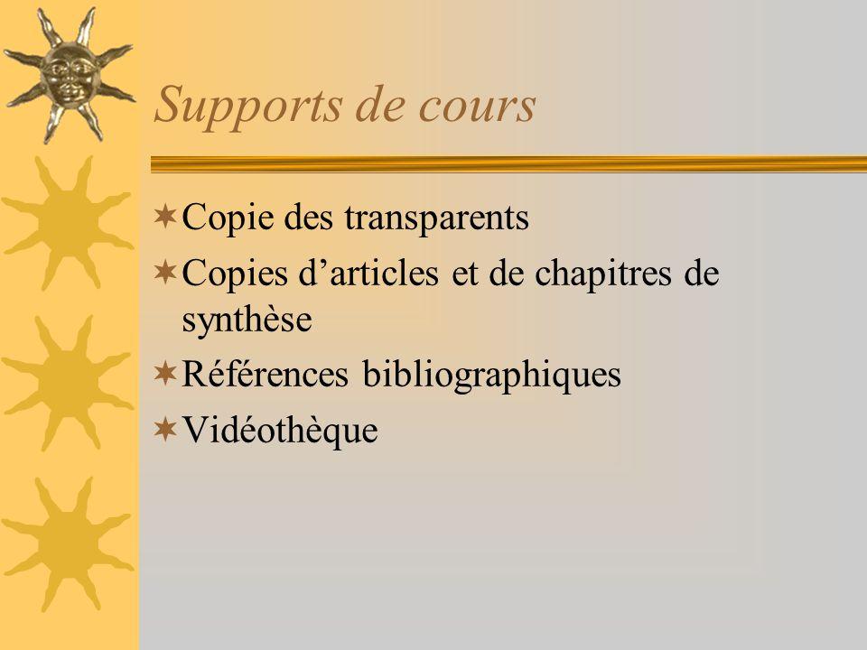 Supports de cours Copie des transparents Copies darticles et de chapitres de synthèse Références bibliographiques Vidéothèque