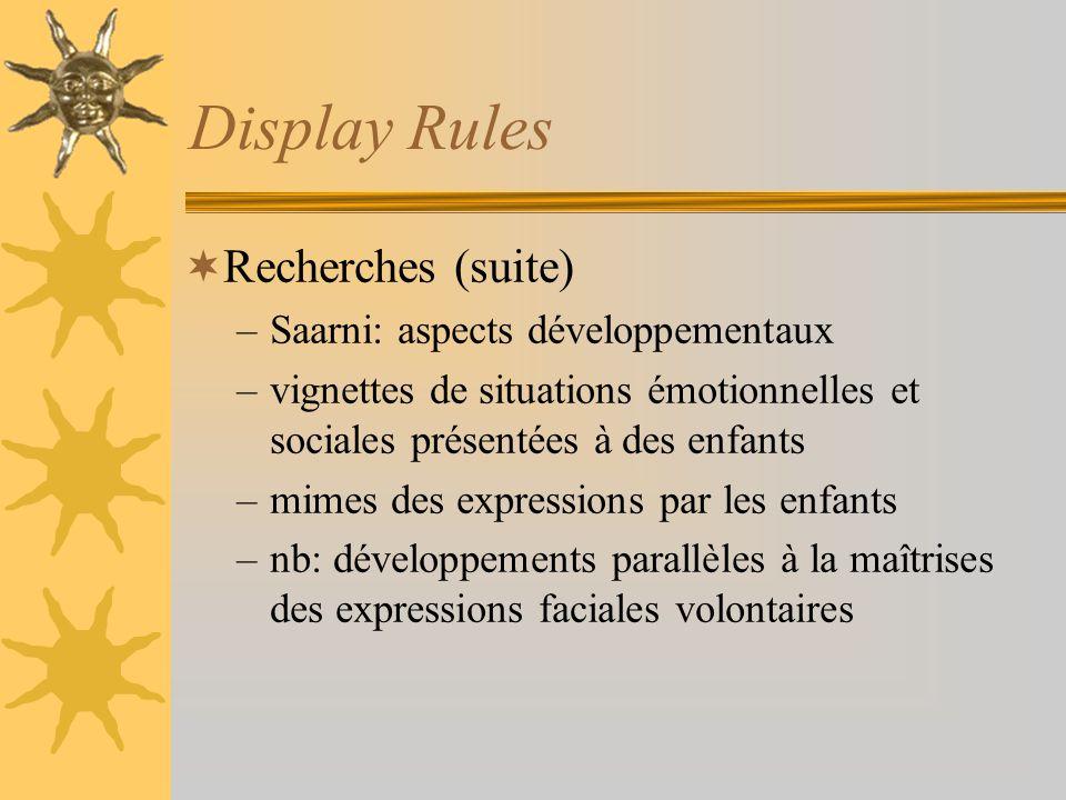 Display Rules Recherches (suite) –Saarni: aspects développementaux –vignettes de situations émotionnelles et sociales présentées à des enfants –mimes
