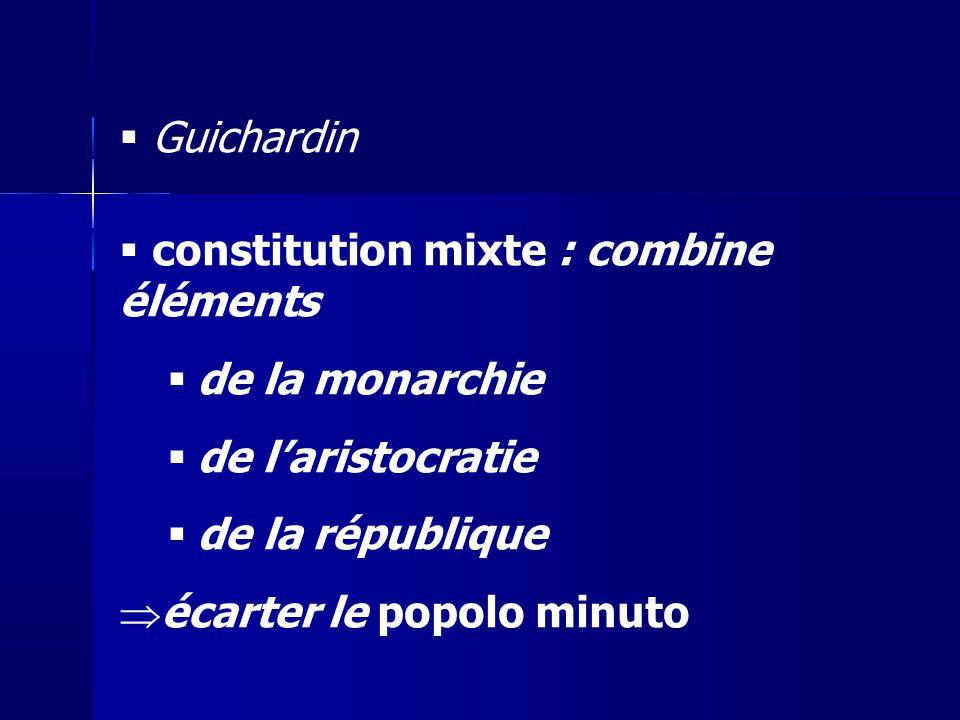 Guichardin constitution mixte : combine éléments de la monarchie de laristocratie de la république écarter le popolo minuto