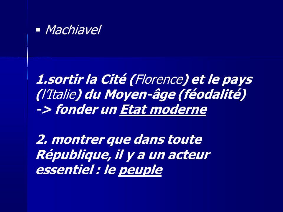 Machiavel 1.sortir la Cité (Florence) et le pays (lItalie) du Moyen-âge (féodalité) -> fonder un Etat moderne 2. montrer que dans toute République, il