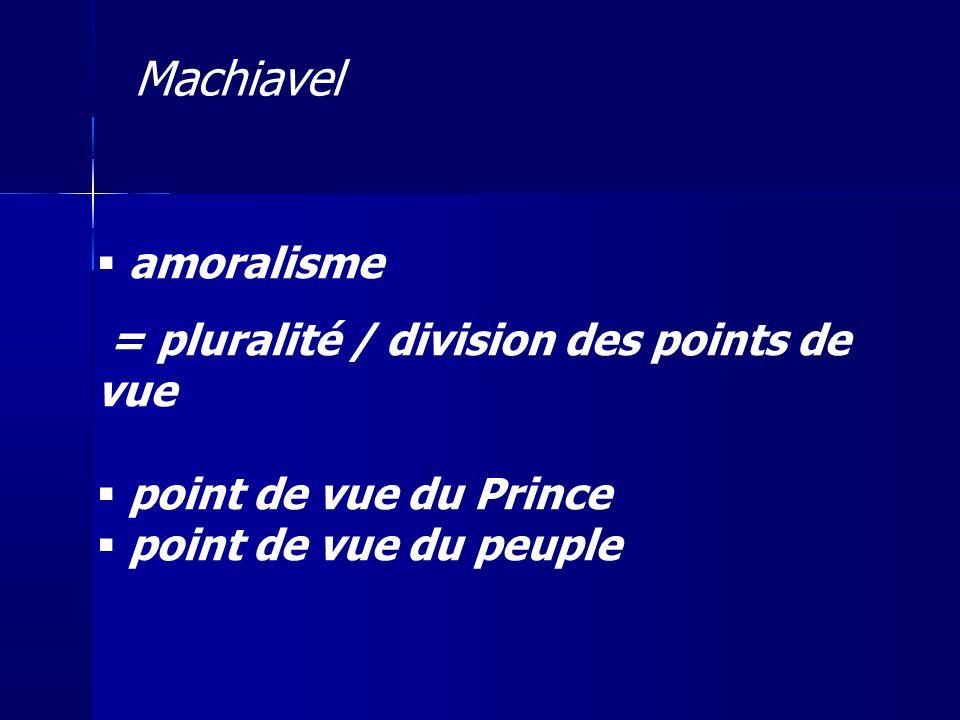 amoralisme = pluralité / division des points de vue point de vue du Prince point de vue du peuple Machiavel