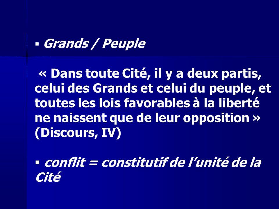 Grands / Peuple « Dans toute Cité, il y a deux partis, celui des Grands et celui du peuple, et toutes les lois favorables à la liberté ne naissent que