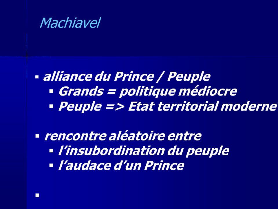 alliance du Prince / Peuple Grands = politique médiocre Peuple => Etat territorial moderne rencontre aléatoire entre linsubordination du peuple laudac