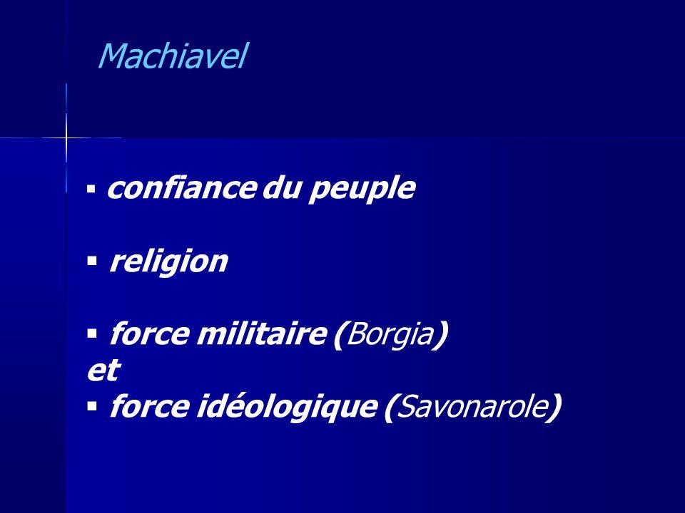 confiance du peuple religion force militaire (Borgia) et force idéologique (Savonarole) Machiavel
