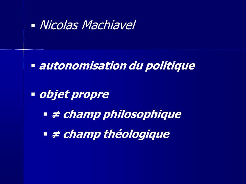 Nicolas Machiavel autonomisation du politique objet propre champ philosophique champ théologique