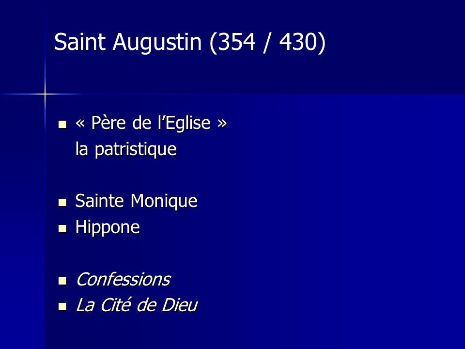 « Père de lEglise » « Père de lEglise » la patristique Sainte Monique Sainte Monique Hippone Hippone Confessions Confessions La Cité de Dieu La Cité de Dieu Saint Augustin (354 / 430)