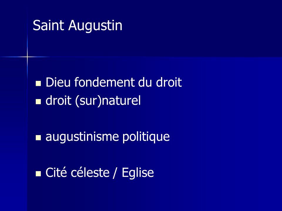 Dieu fondement du droit droit (sur)naturel augustinisme politique Cité céleste / Eglise Saint Augustin